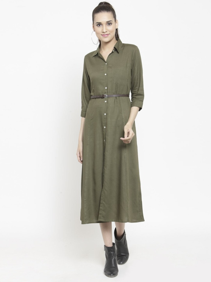 Olive Green Solid Shirt Dress with Belt 1