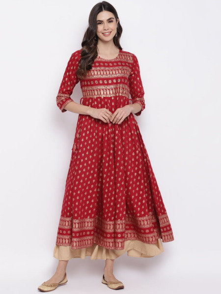 Red-Golden-Mirror-Work-Anarkali-Kurta-Women-Purplicious