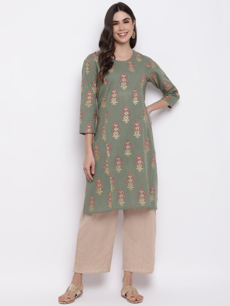 Sage-Green-Golden-Printed-A-Line-Handloom-Kurta-Women