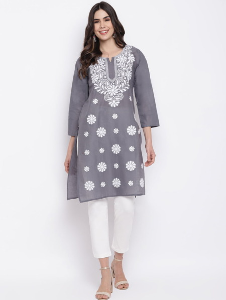 Charcoal-Grey-White-Chikankari-Embroidered-Cotton-Straight-Kurta-women