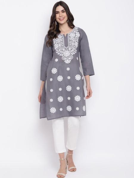 Charcoal-Grey-White-Chikankari-Embroidered-Cotton-Straight-Kurta-women