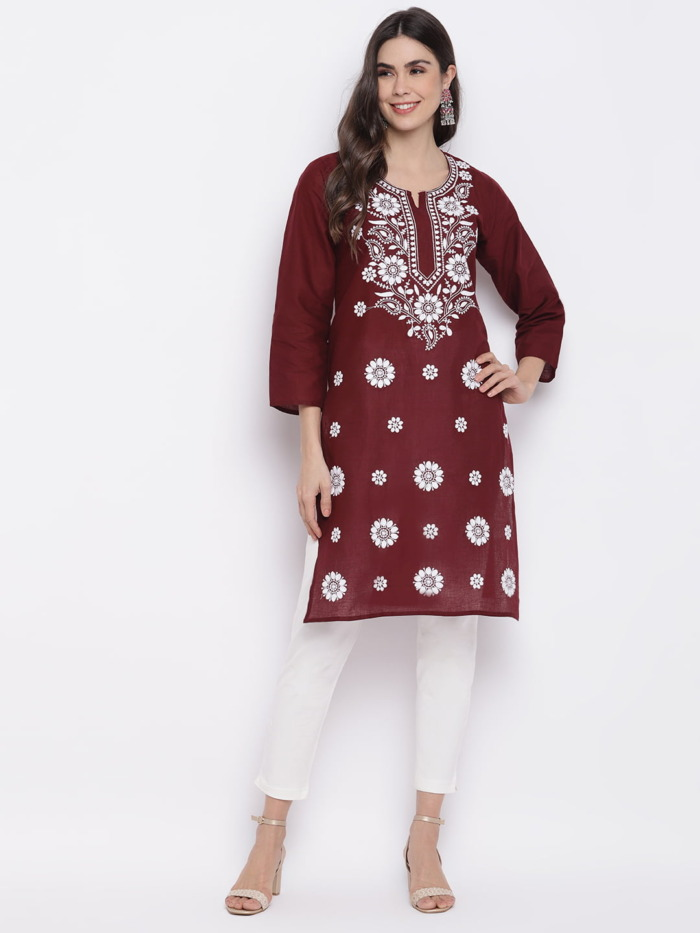 Maroon-White-Chikankari-Embroidered-Cotton-Straight-Kurta-women