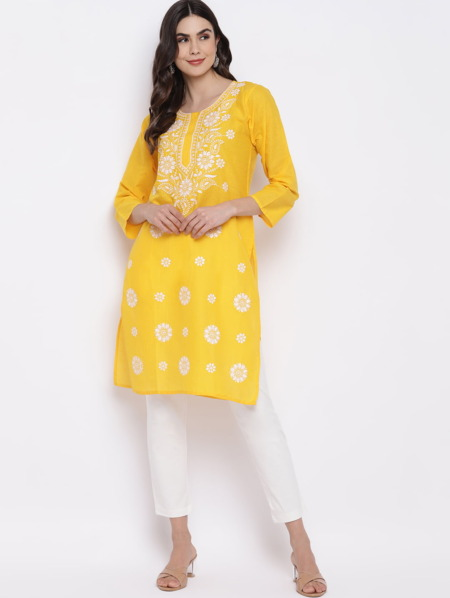 Yellow-White-Chikankari-Embroidered-Cotton-Straight-Kurta-women