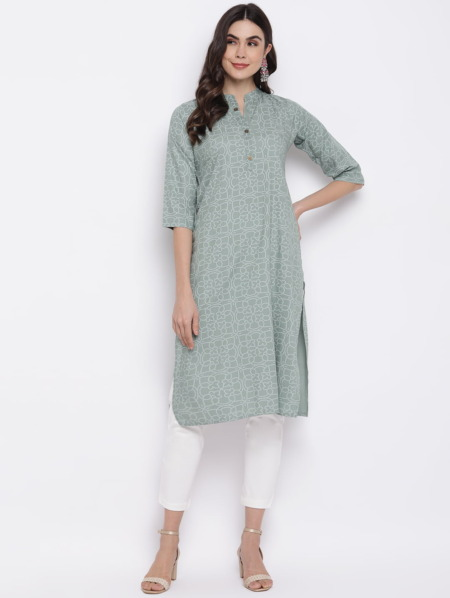 Sage-Green-Bandhani-Printed-Kurta-Cotton-Straight-Kurta-purplicious