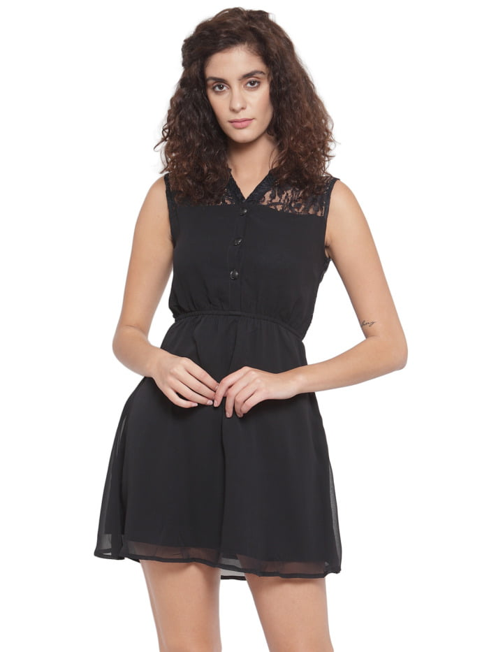 Purplicious Women Black Lace Fit and Flare Dress