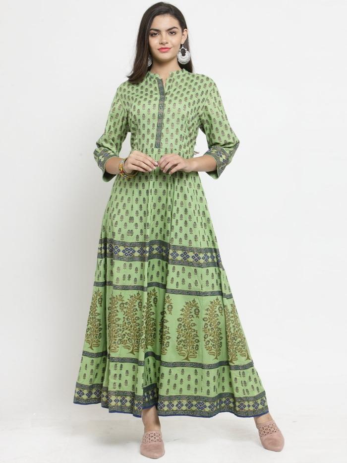 Green Printed A-Line Anarkali Kurta 5