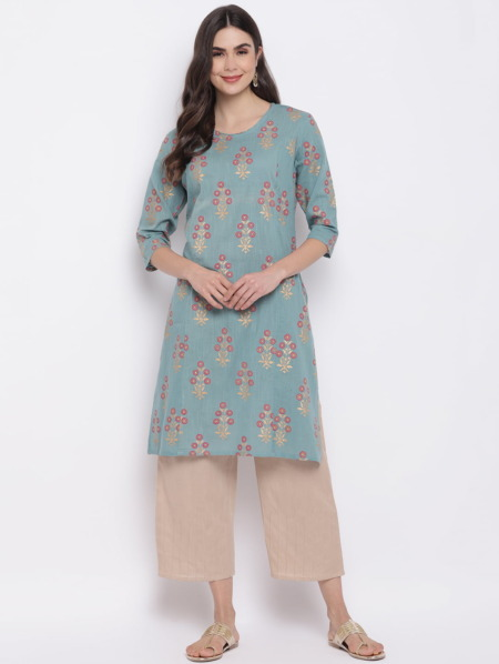 Sae-Green-Golden-Printed-A-Line-Handloom-Kurta-Women