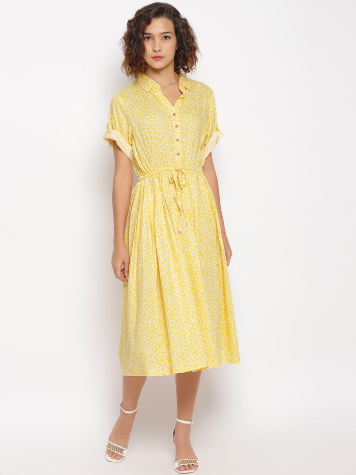 Yellow-Ditsy-Floral-Printed-Fit-and-Flare-Dress