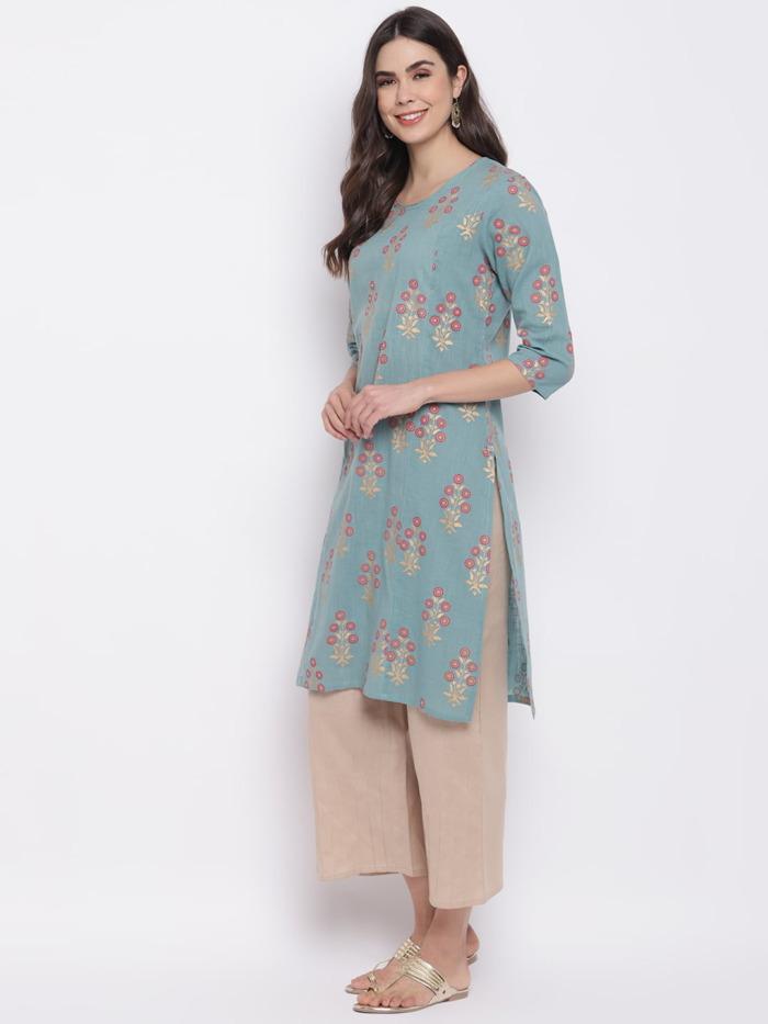 Sae-Green-Golden-Printed-A-Line-Handloom-Kurta-Women
