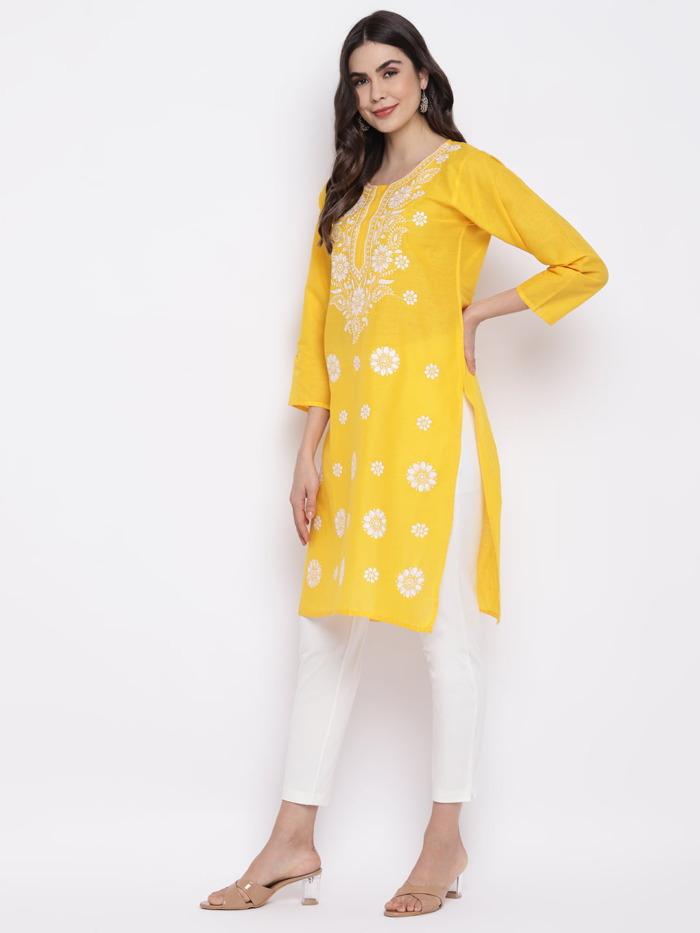 Yellow-White-Chikankari-Embroidered-Cotton-Straight-Kurta-women