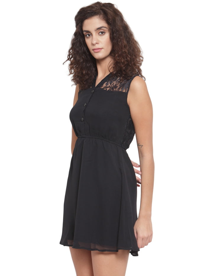 Women Black Lace Fit and Flare Dress 2