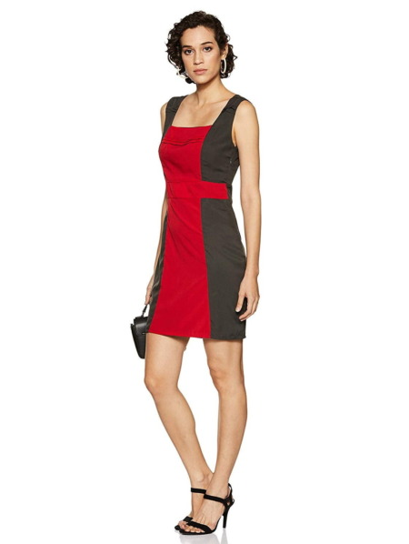 Red & Grey Pleated Sheath Dress