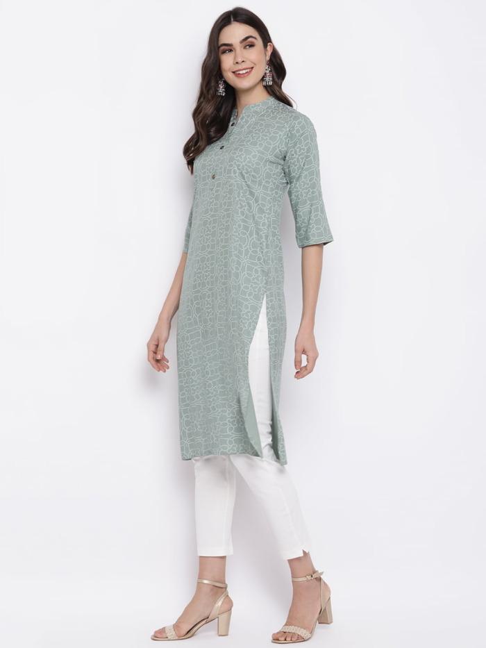 Sage-Green-Bandhani-Printed-Kurta-Cotton-Straight-Kurta-purplicious