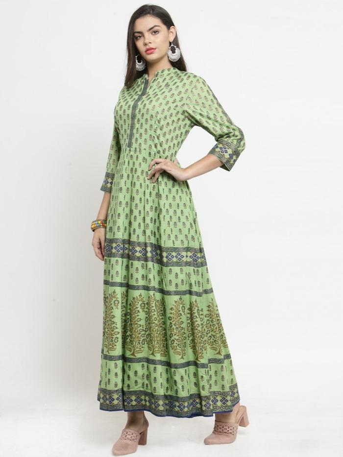 Green Printed A-Line Anarkali Kurta 4