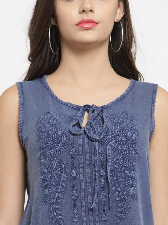 Purplicious Blue Tensile Women Floral Embroidered Top