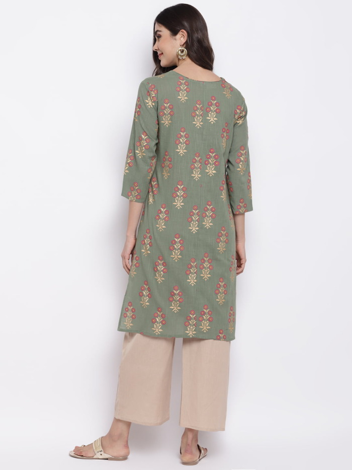 Sage-Green-Golden-Printed-A-Line-Handloom-Kurta-Women