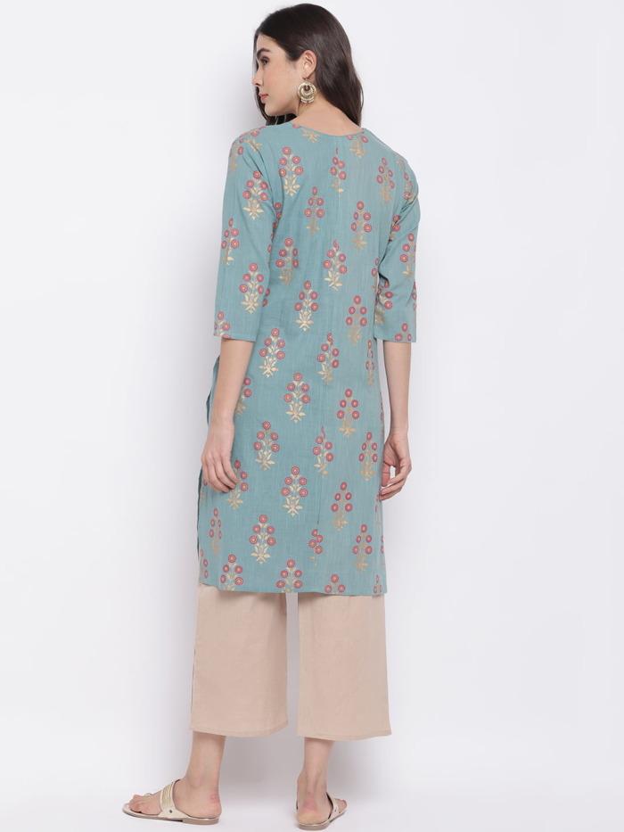 Sae Green and Golden Printed A-Line Handloom Kurta for Women 2