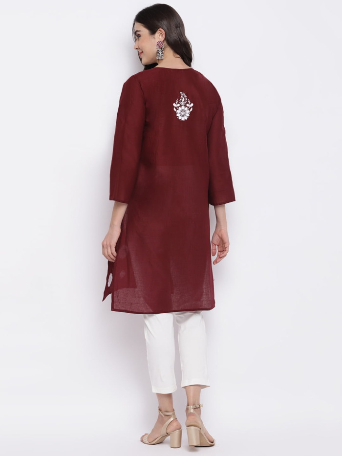 Maroon and White Chikankari Embroidered Cotton Straight Kurta 1