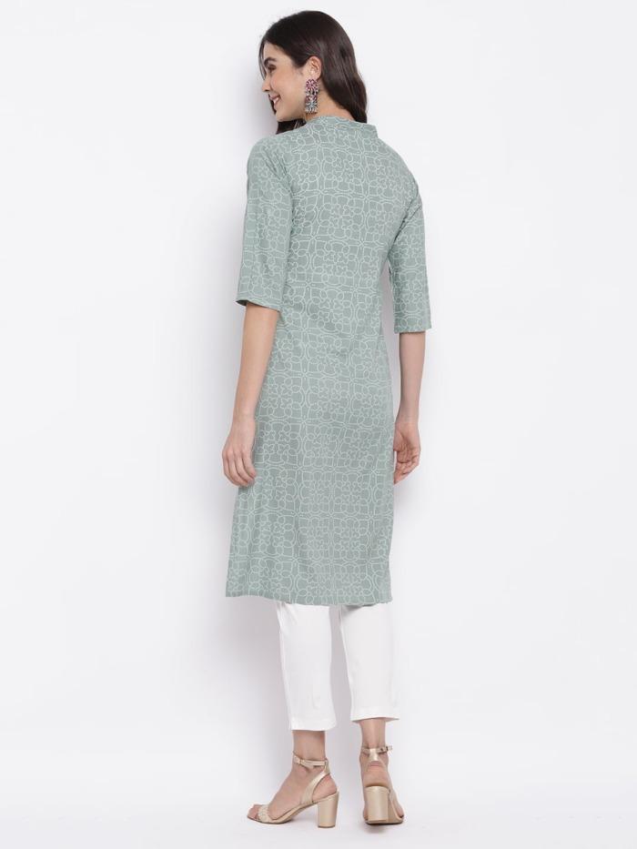 Sage Green Bandhani Printed Cotton Straight Kurta 1