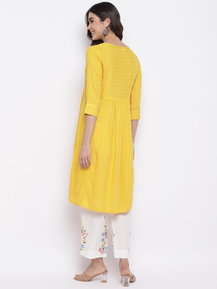 Yellow and White Embroidered Kurta with Trousers for Women 2