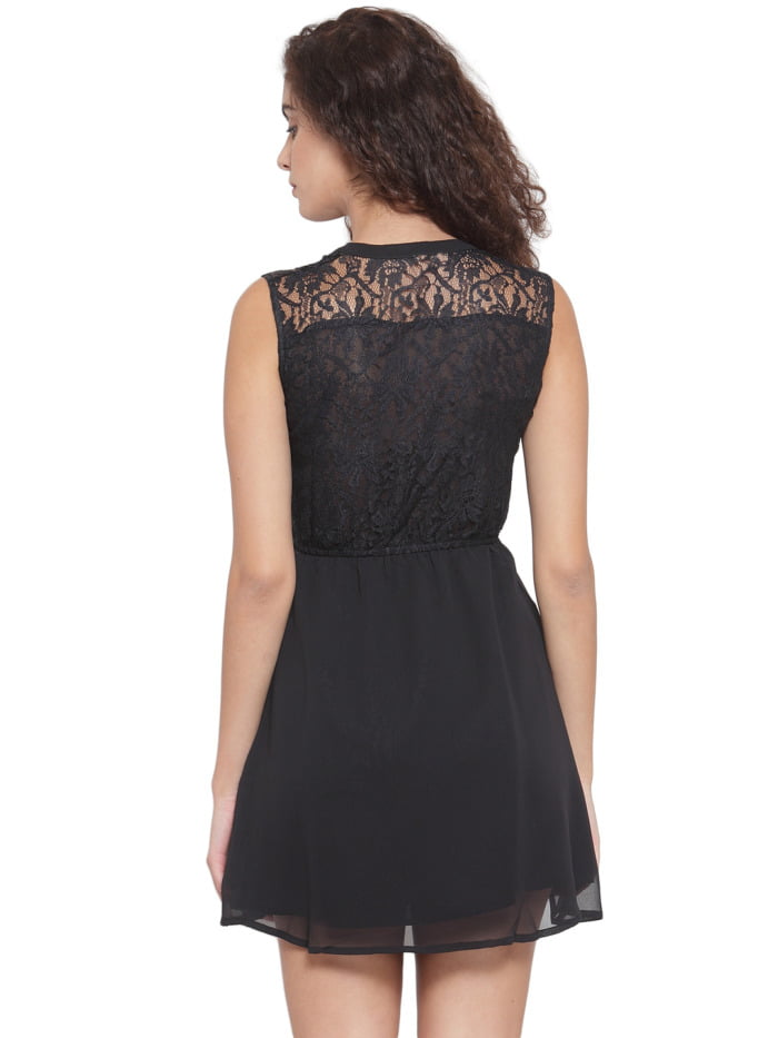 Purplicious Women Black Lace Fit and Flare Dress 1