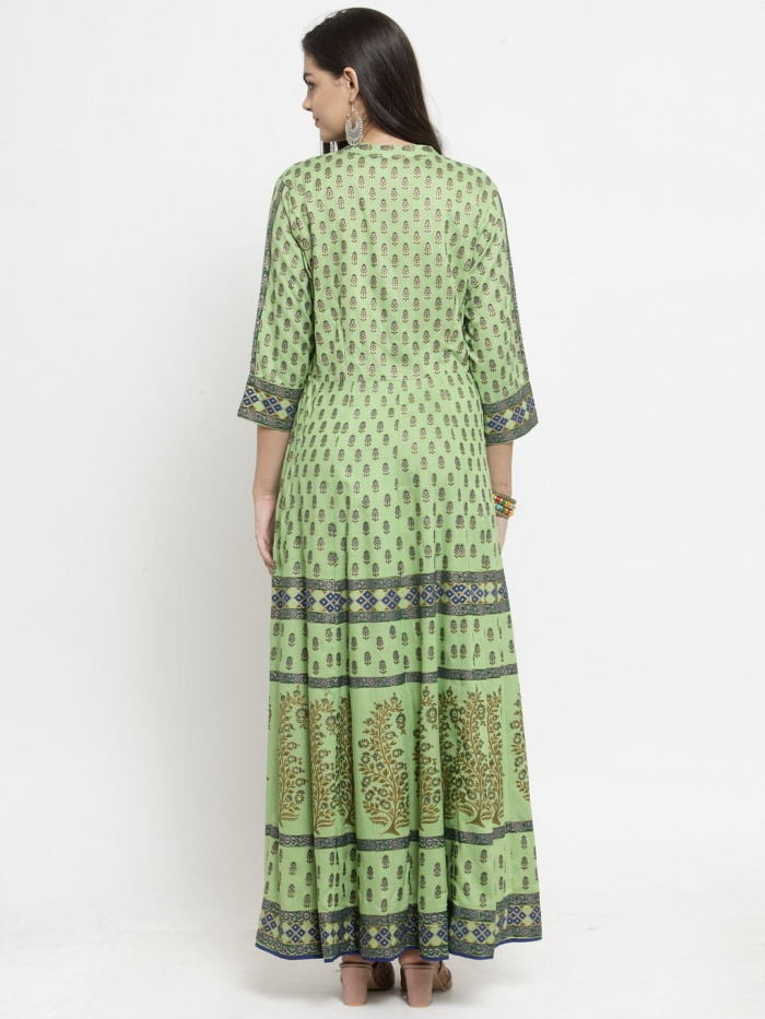Green Printed A-Line Anarkali Kurta 6