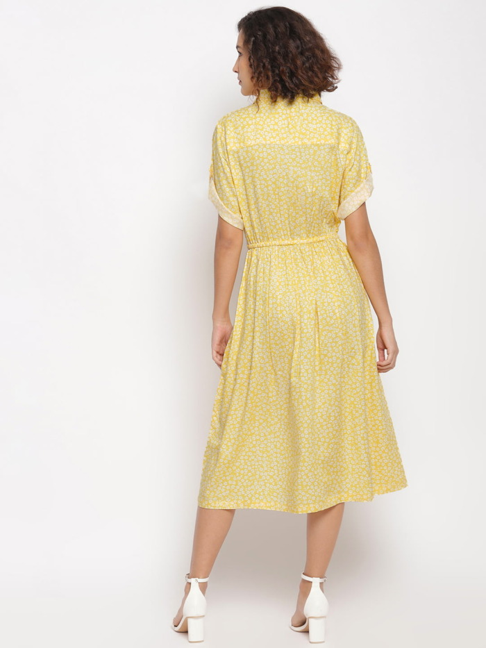 Yellow-Ditsy-Floral-Printed-Fit-and-Flare-Dress 5