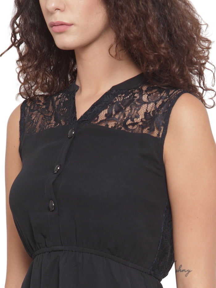 Women Black Lace Fit and Flare Dress 1