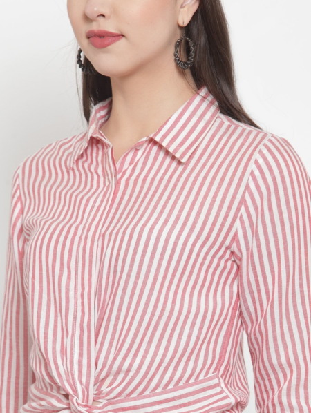 Pink & White Regular Fit Striped Casual Knotted Shirt
