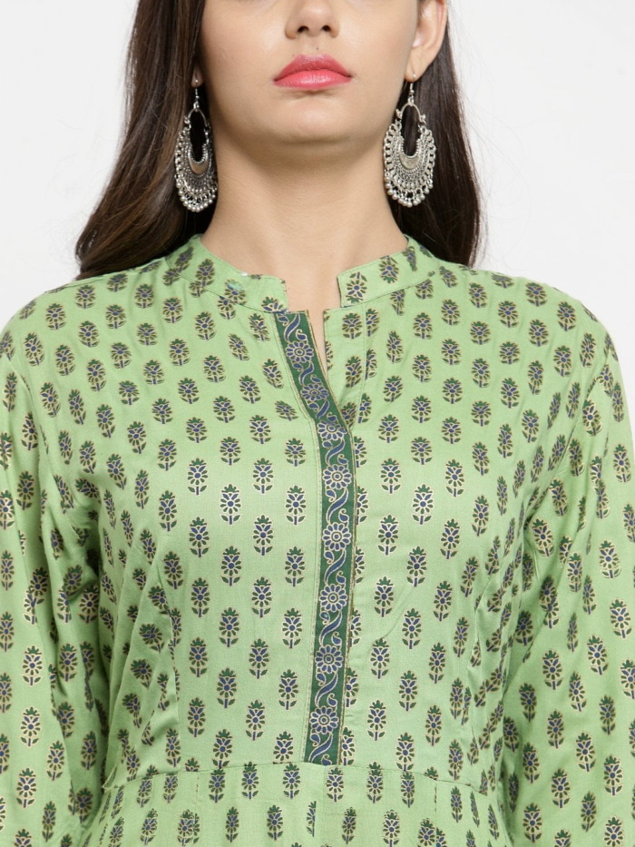 Green Printed A-Line Anarkali Kurta 2
