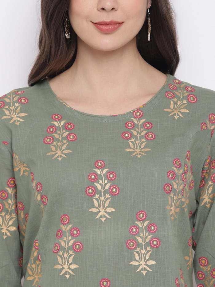 Sage Green and Golden Printed A-Line Handloom Kurta for Women 1