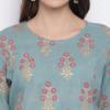 Sae Green and Golden Printed A-Line Handloom Kurta for Women 3