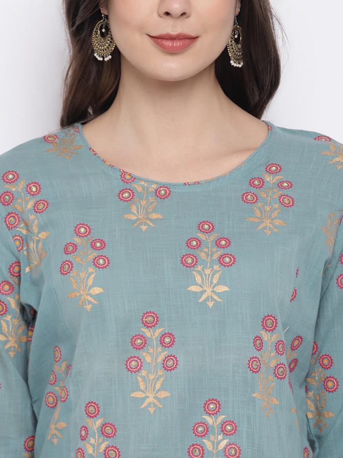Sae Green and Golden Printed A-Line Handloom Kurta for Women 1