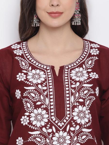 Maroon-White-Chikankari-Embroidered-Cotton-Straight-Kurta-women