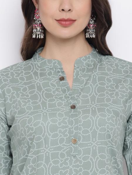 Sage Green Bandhani Printed Kurta Cotton Straight Kurta