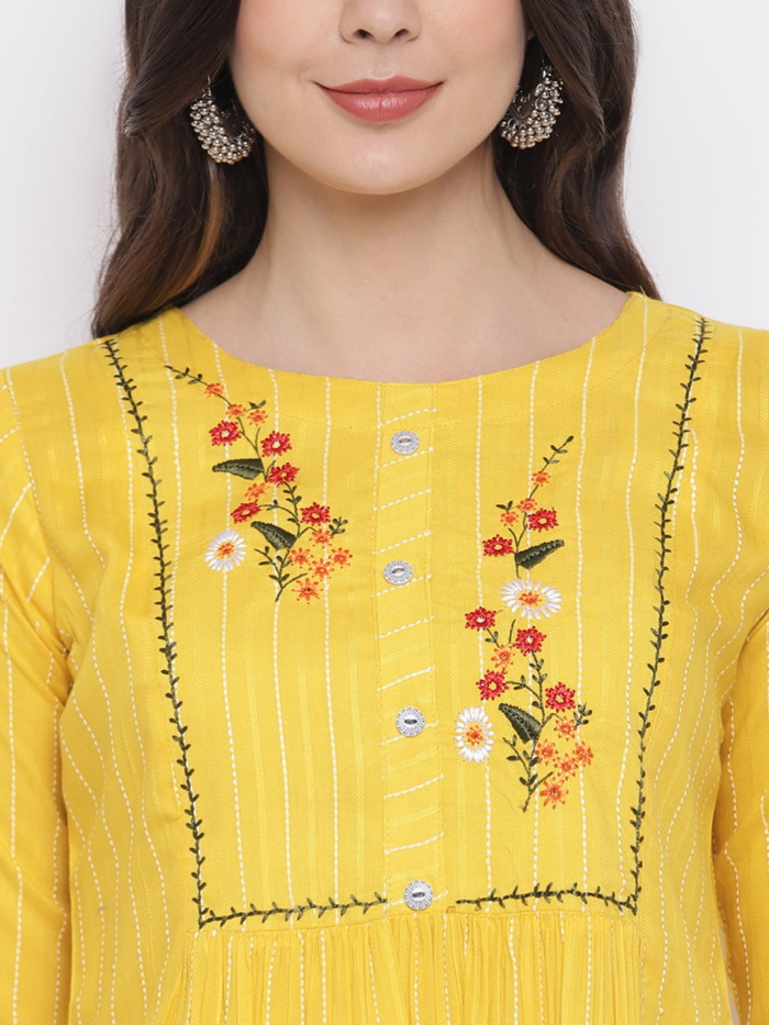 Yellow and White Embroidered Kurta with Trousers for Women 1