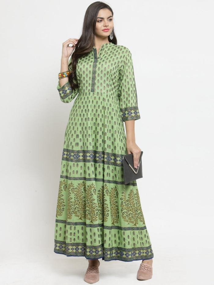 Green Printed A-Line Anarkali Kurta 3