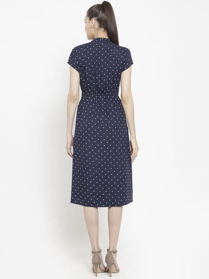 Purplicious Women Navy Blue Printed Wrap Dress