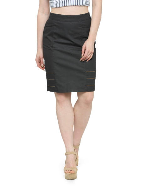 Grey-Cotton-Pencil-Skirt-Brown-Highlights-purplicious