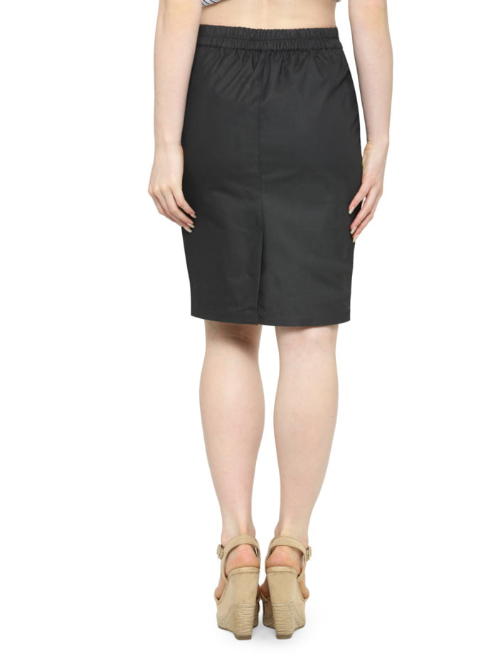 Grey Cotton Pencil Skirt with Brown Highlights 2