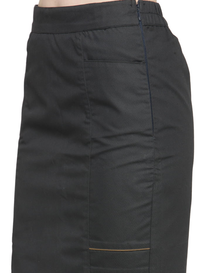Grey Cotton Pencil Skirt with Brown Highlights 1