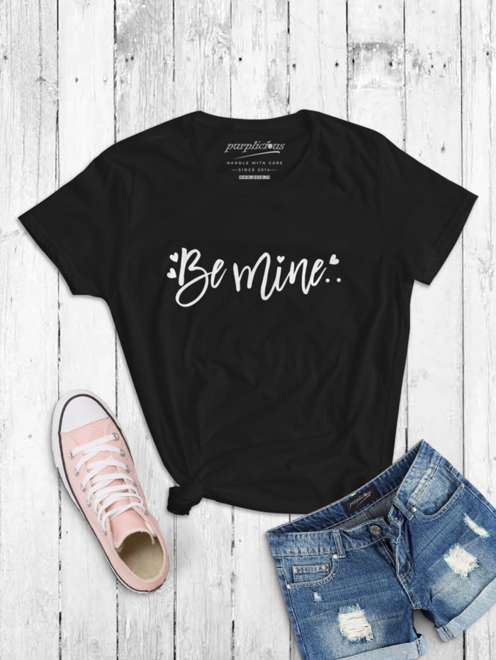 Be Mine Womens T-shirt In Maroon Black and Navy 4