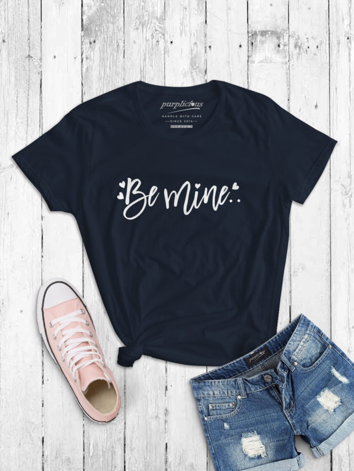 Be Mine Womens T-shirt In Maroon Black and Navy 5