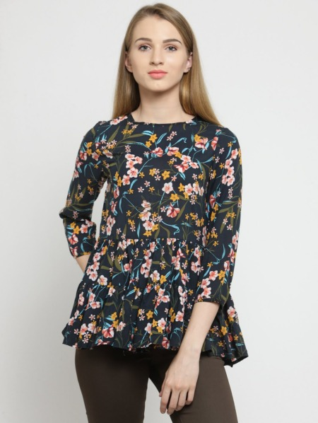 Navy Floral Peplum Top for women by Purplicious,