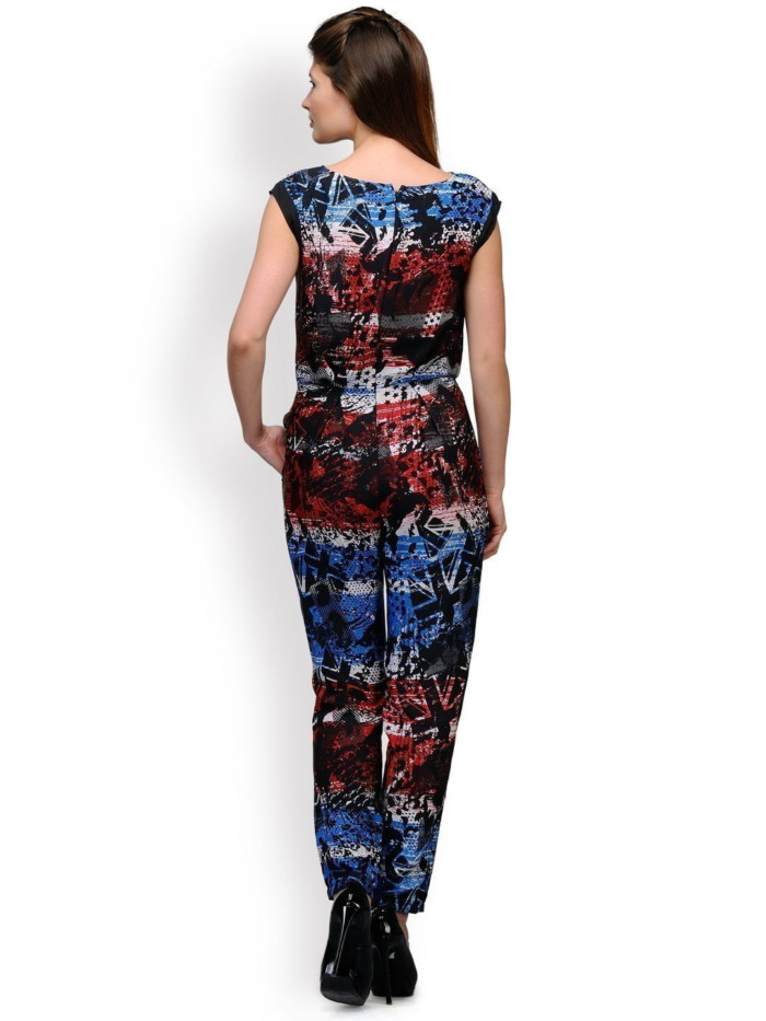 Red And Blue Pleated Jumpsuit