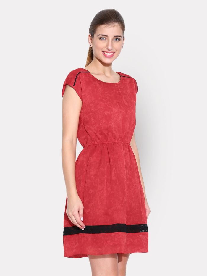Red Printed Fit & Flare Dress with Lace Details 2