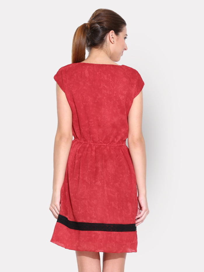 Red Printed Fit & Flare Dress with Lace Details 4