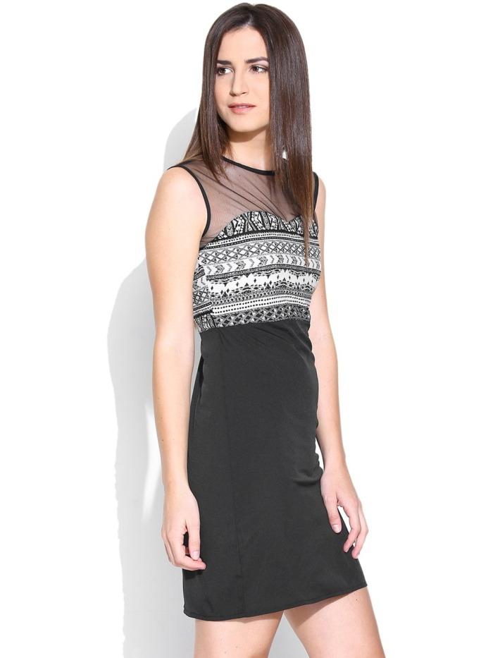 Purplicious-Black-Printed-Shift-Dress