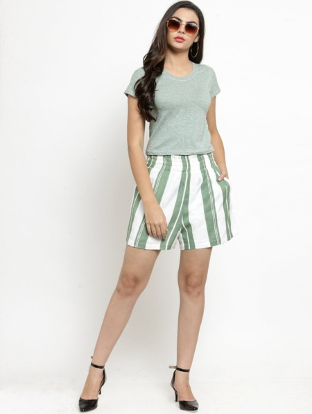 Purplicious Women Green Striped Loose Fit Regular Shorts