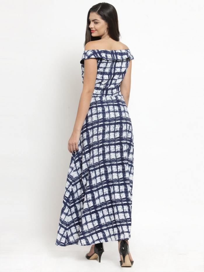 Purplicious Women Blue Printed Fit and Flare Dress